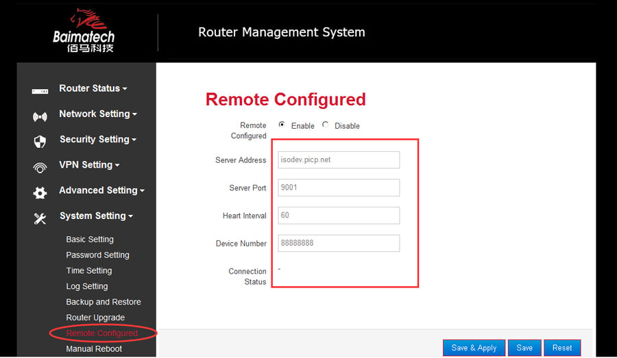 configure the parameters of Baima industrial cellular router