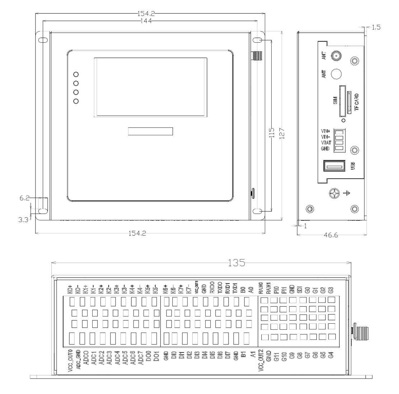 BMY600 Industrial RTU Dimensions